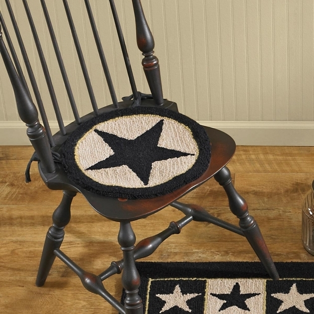 Black Star Hooked Braided Chair Pads For Kitchen Chairs Image 24