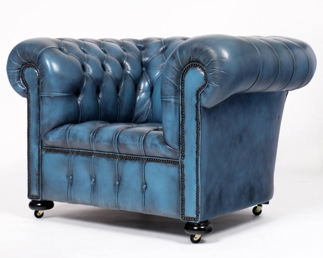 Blue Leather Club Chair Vintage Steel Chesterfield Image 15