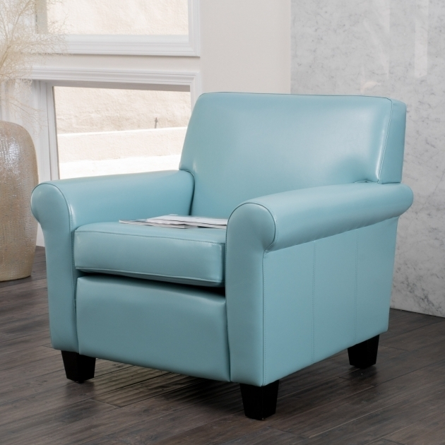 Christopher Knight Home Oversized Bonded Light Blue Leather Club Chair Photos 16