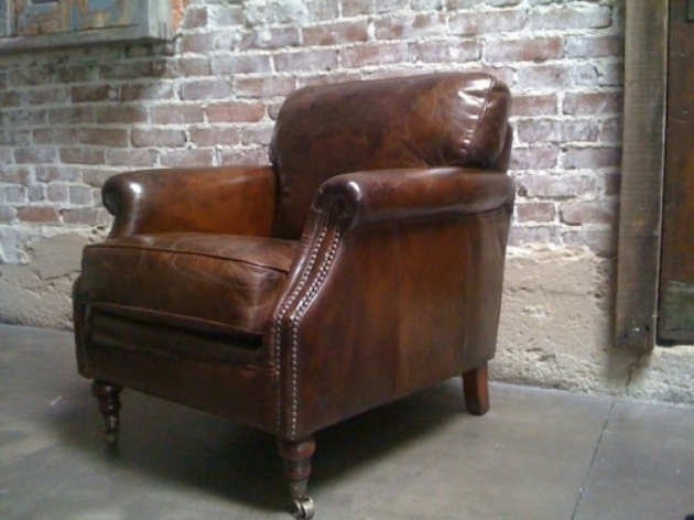 Distressed Leather Club Chair For Sale Images 18