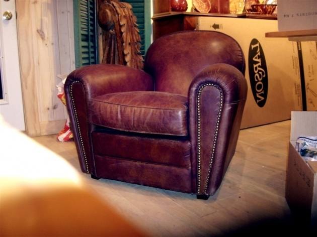 Distressed Leather Club Chair For Sale One Pair Of English Deco Style Photo 85