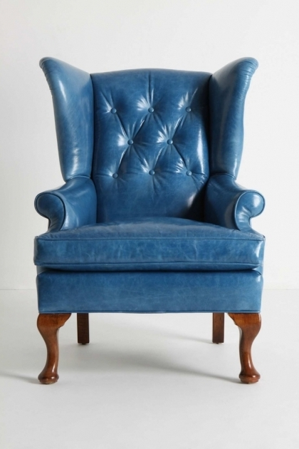 English Blue Leather Club Chair Images 96