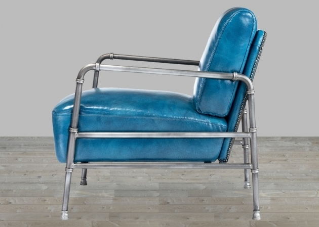 Grain Blue Leather Club Chair With Metal Frame Pictures 86