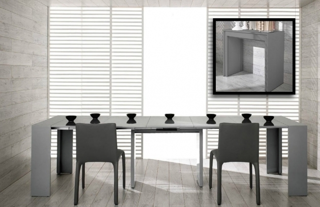 Modern Ultra Compact Extendable Grey Gloss Dining Table Photo 93