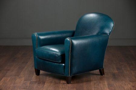 Blue Leather Club Chair