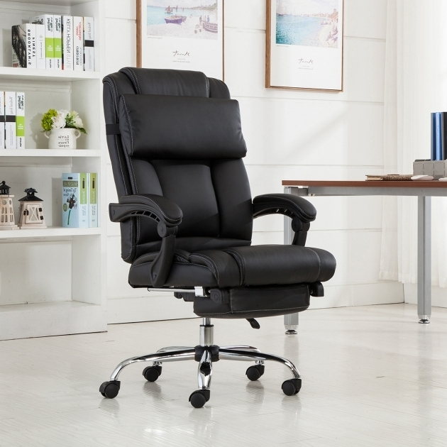 Reclining Office Chair With Footrest Executive Ergonomic High Back Leather Pictures 39