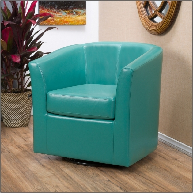 Swivel Blue Leather Club Chair Furniture Decorating Ideas Image 24