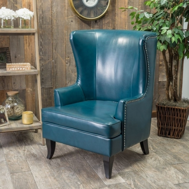 Teal Blue Leather Club Chair For Living Room Furniture Tall Wingback Images 43