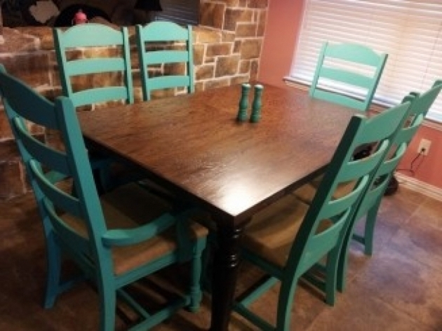 Turquoise Kitchen Chairs And Dining Table Photo 88