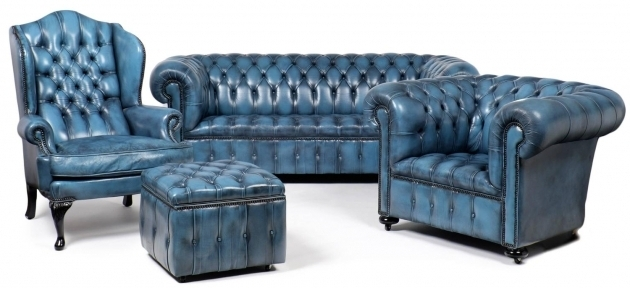 Vintage Steel Blue Leather Club Chair Chesterfield Photos 26