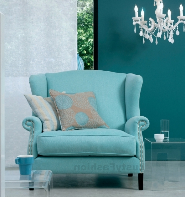blue accent chair with arms living room design image 46