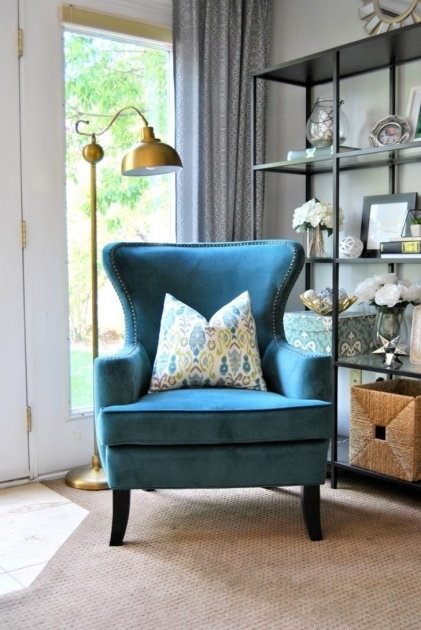 home living room with blue accent chair with arms vintage style