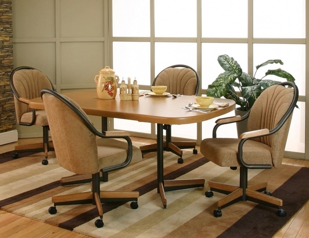 Kitchen Chairs With Rollers And Dining Room Apartment Decor In Light Brown Tone Cream Seat Photo 48