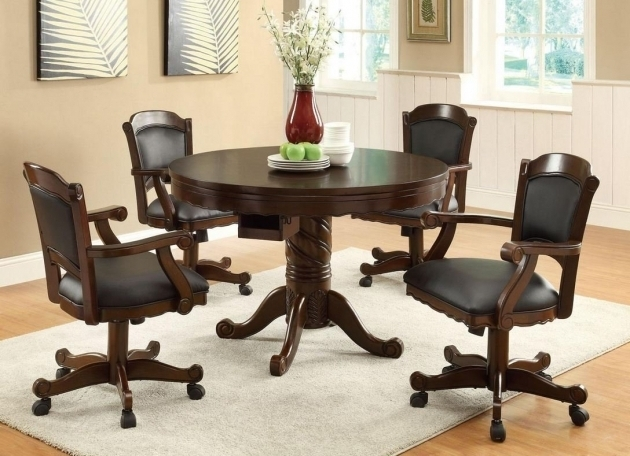 Kitchen Chairs With Rollers Special Dining Room Decor Rounded Dark Brown Dining Table Ideas Photos 33