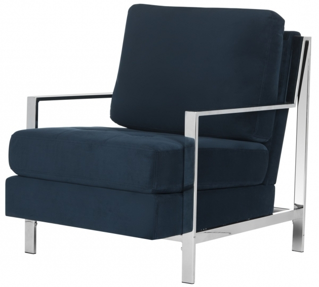Navy Velvet Blue Accent Chair With Arms Pictures 09
