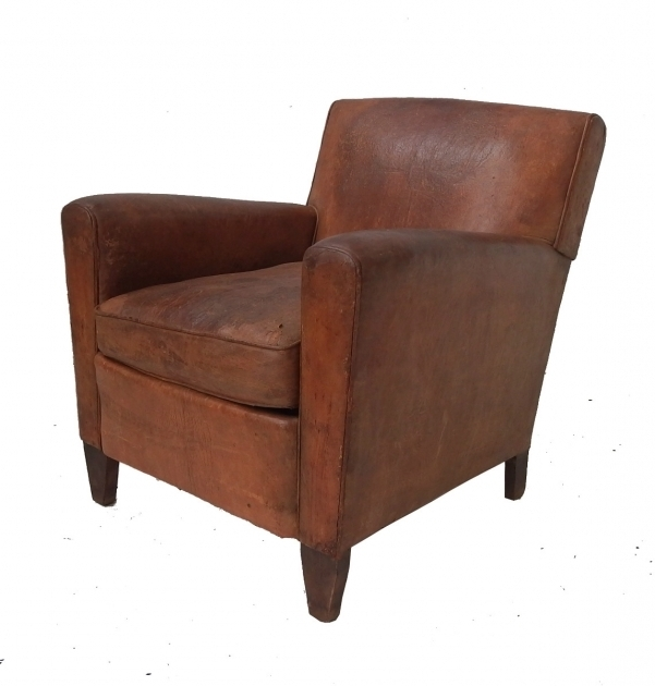 Vintage Small Leather Club Chair 2 Seating Furniture Photo 06