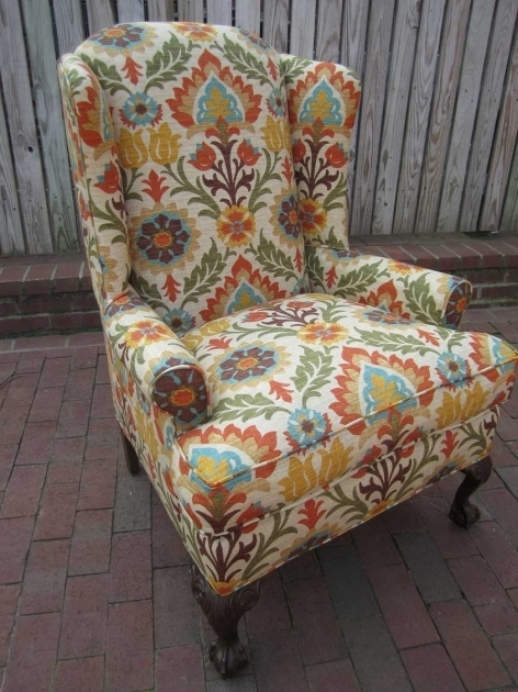 Antique Wingback Patterned Club Chair Images 84