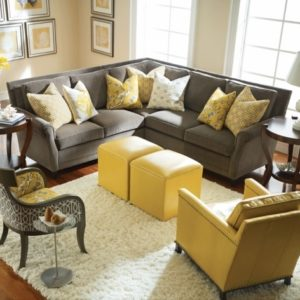 Grey and Yellow Accent Chair