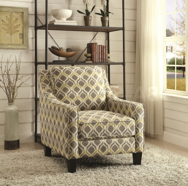 Pattern Grey And Yellow Accent Chair For Sale Images 01