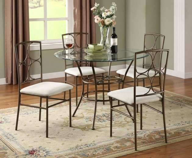 Wrought Iron Kitchen Chairs Chic Small Dining Room Design  : wrought iron kitchen chairs chic small dining room design with round glass table photo 58 from www.shoshuga.com size 630 x 521 jpeg 269kB