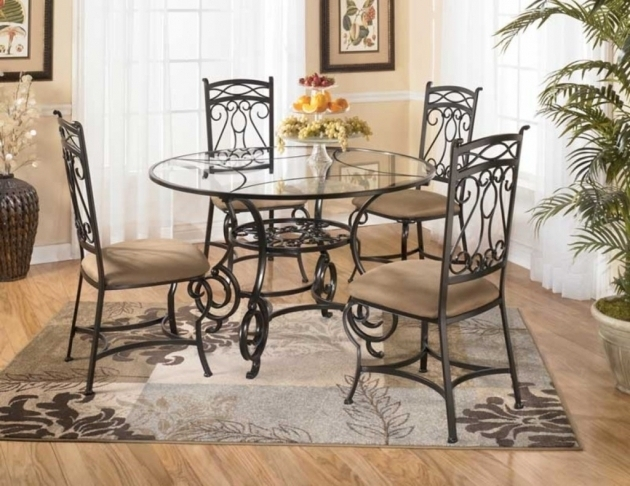 Wrought Iron Kitchen Chairs With Glass Top In Dining Space Photos 58