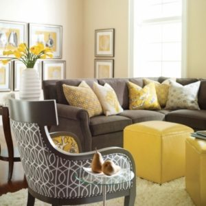 Unique Yellow And Grey Accent Chair Set