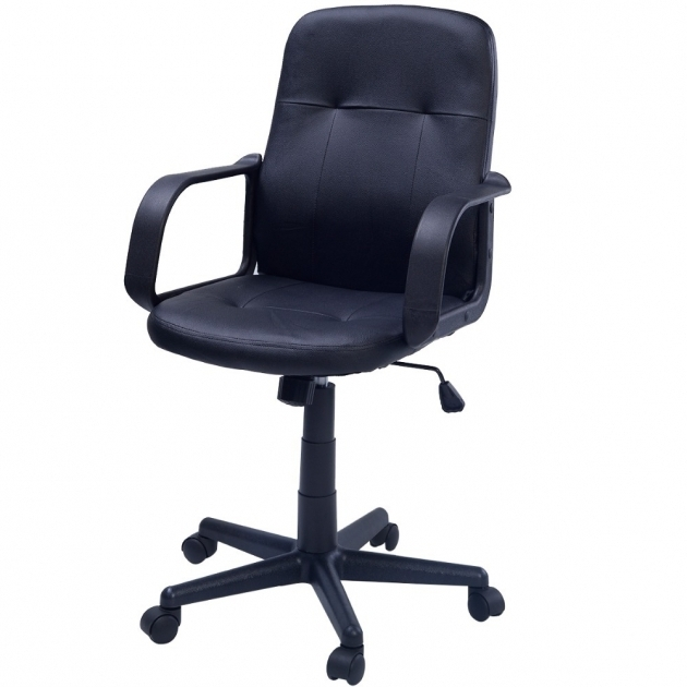 Black Office Swivel Chair Faux Leather Computer  Pictures 90