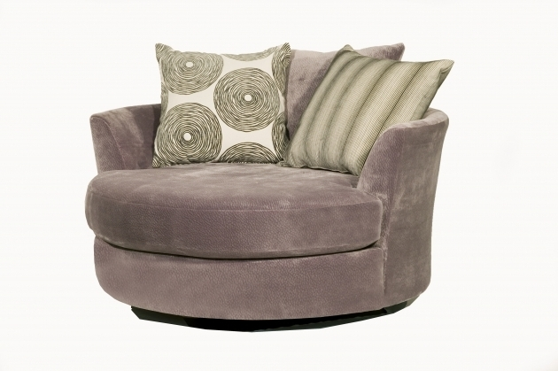 Large Cheap Snuggle Grey Round Swivel Cuddle Chair Image
