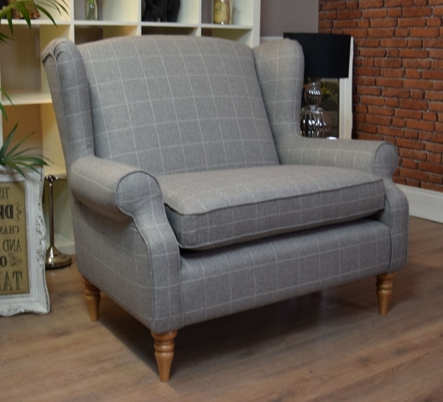 Sherlock Large Vintage Cuddle Chair Style Wing Back Cuddle Chair Check Photo 71