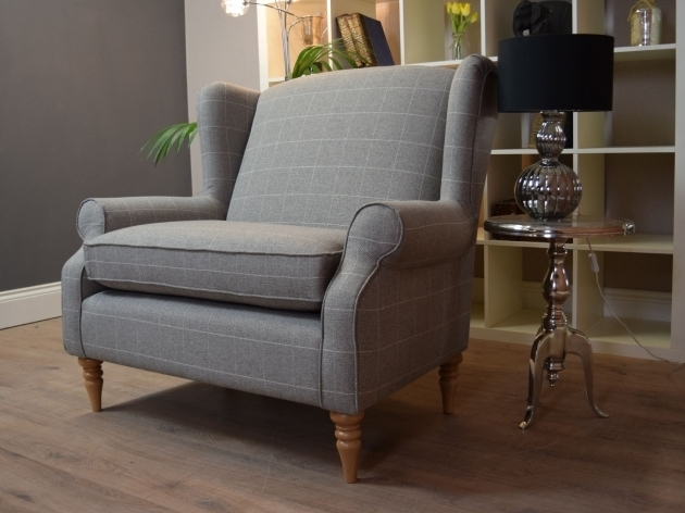Sherlock Large Vintage Style Wing Back Cuddle Chair Check Versatile Grey Vintage Cuddle Chair Photo 85