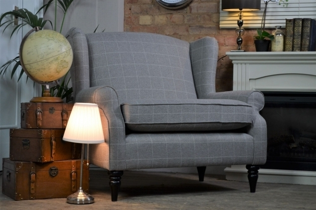 Sherlock Large Vintage Style Wing Back Vintage Cuddle Chair Tweedy Check Photo 09