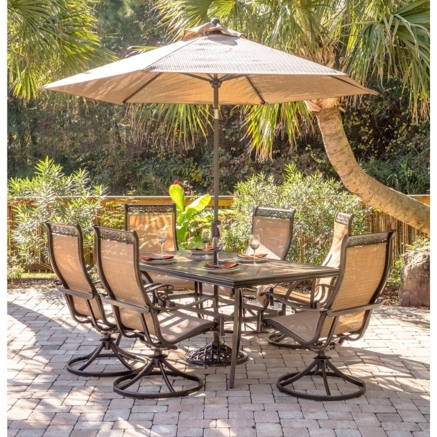 7 Piece Patio Set With Umbrella Best Hanover Monaco Swivel Rocker Chair Photo 65