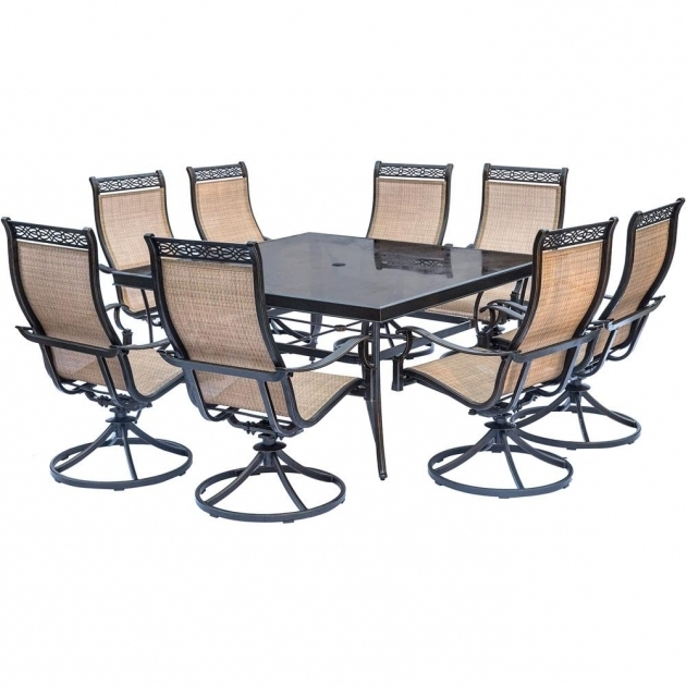 Hanover Monaco 9 Piece Aluminum Outdoor Dining Set With Square Glass Hanover Monaco Swivel Rocker Chair Photos 45