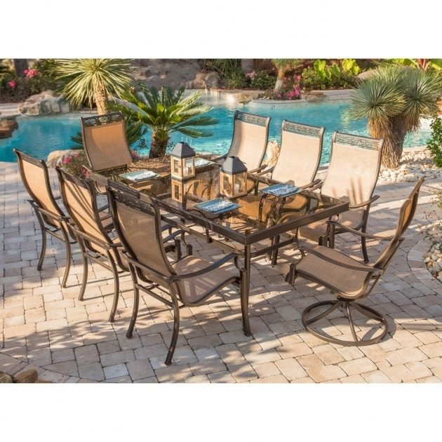 Hanover Monaco 9 Piece Dining Set With Six Dining Chairs Two Swivel Hanover Monaco Swivel Rocker Chair Photo 43