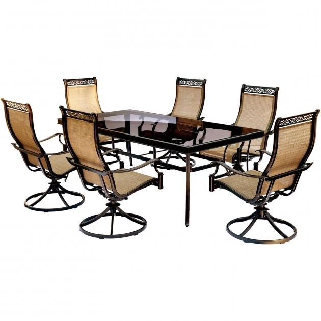 Monaco 7 Piece Dining Set With Six Sling Back Swivel Rockers Hanover Monaco Swivel Rocker Chair Image 95