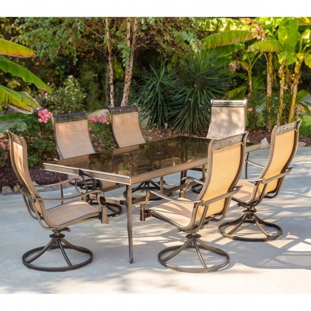 Shop Hanover Monaco 7 Piece Dining Set With Six Sling Back Swivel Hanover Monaco Swivel Rocker Chair Images 10