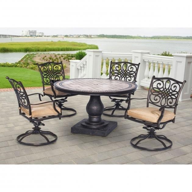 Shop Hanover Mondn5pcsw 4 Monaco Tan Aluminum 5 Piece Outdoor Dining Set Hanover Monaco Swivel Rocker Chair Pictures 11