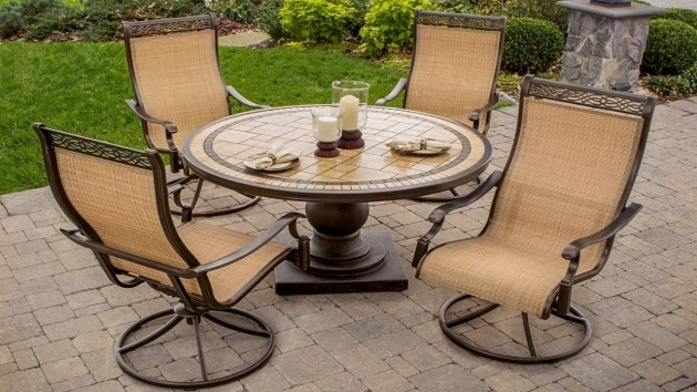 Classy High Back Sling Patio Chairs Image