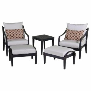 Patio Chair With Ottoman Set