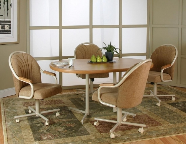 Inspiring Kitchen Table With Rolling Chairs Pic