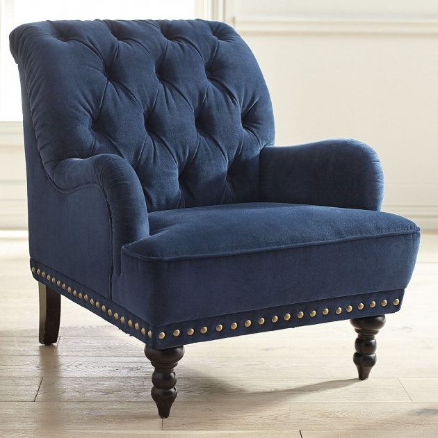 Luxury Navy And White Accent Chair Picture
