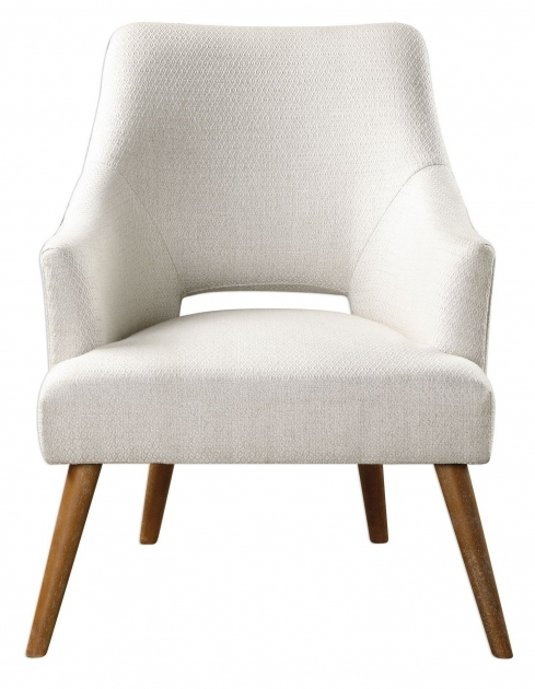 Nice Wood Leg White Accent Chairs Images