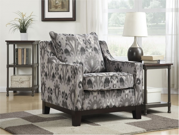 Unique Grey Patterned Accent Chair Picture